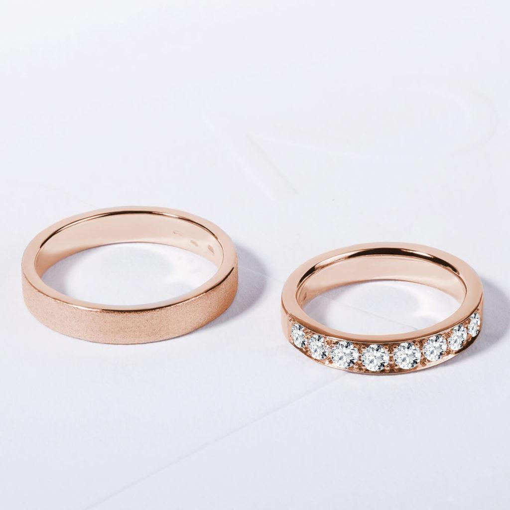 Snubní prsteny růžové zlato s diamanty zn. Klenota