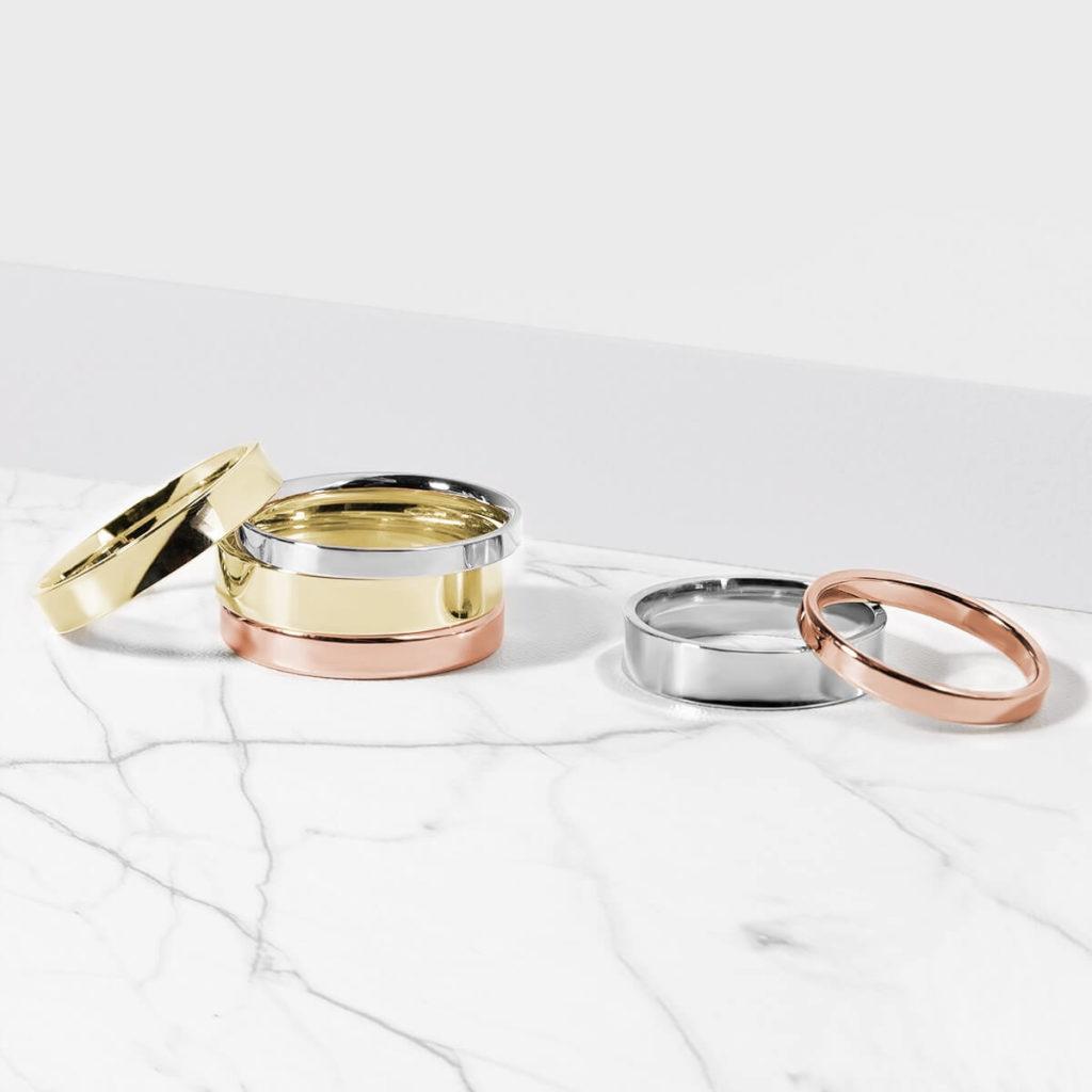 Snubní prsteny pánské zlato žluté, bílé, růžové s diamanty zn. Klenota