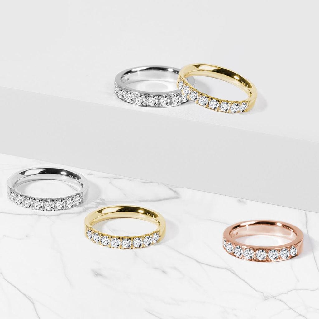 Snubní prsteny dámské zlato žluté, bílé, růžové s diamanty zn. Klenota