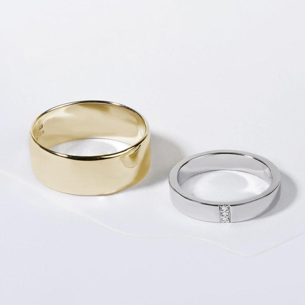 Snubní prsteny pár zlato žluté, bílé s diamanty zn. Klenota