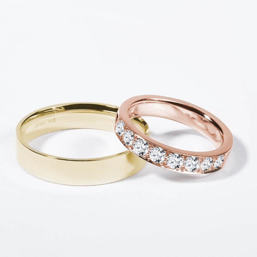 Snubní prsteny pár zlato žluté lesklé a růžové s diamanty zn. Klenota
