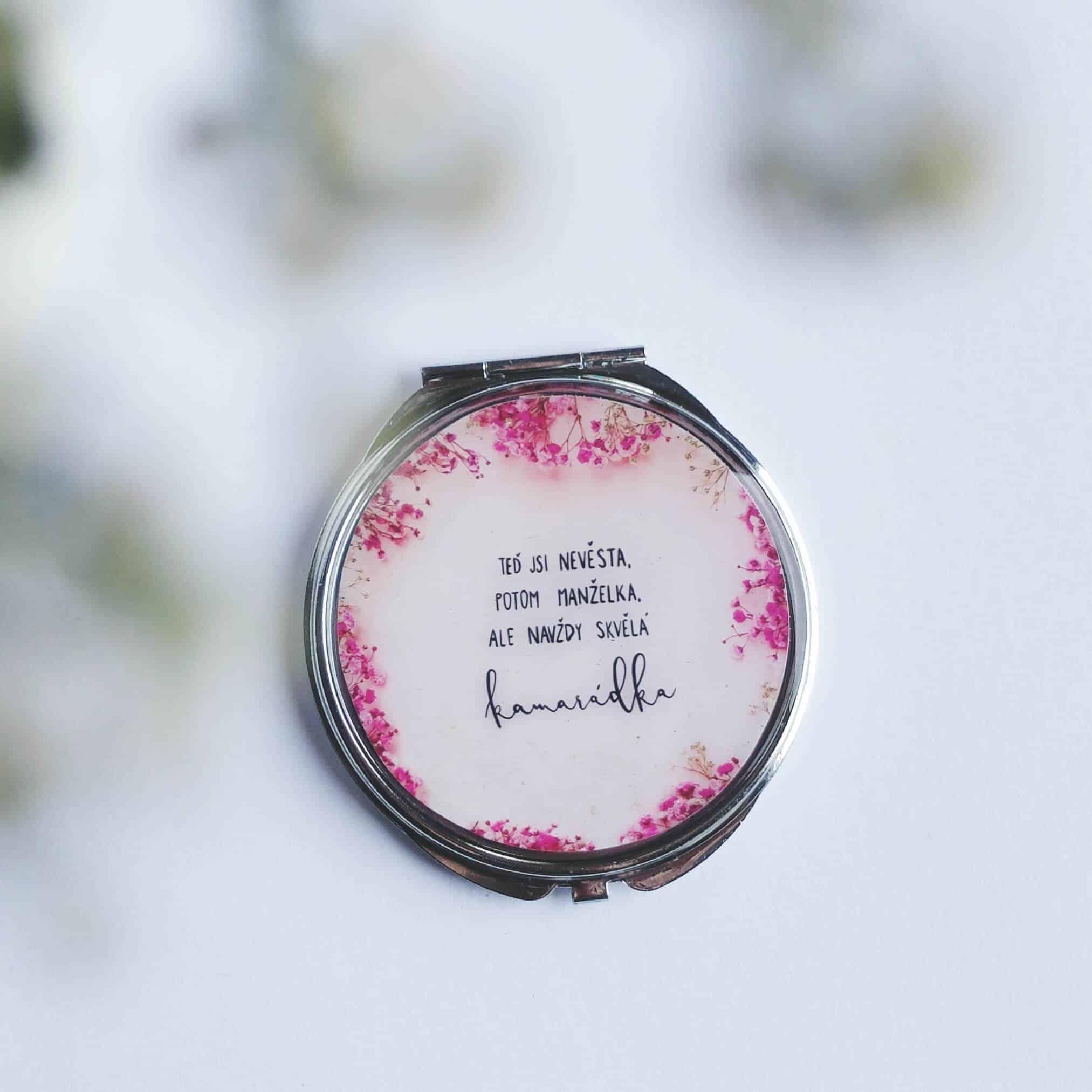 Dárek na rozlučku se svobodou pro nevěstu - zrcátko růžové větvičky