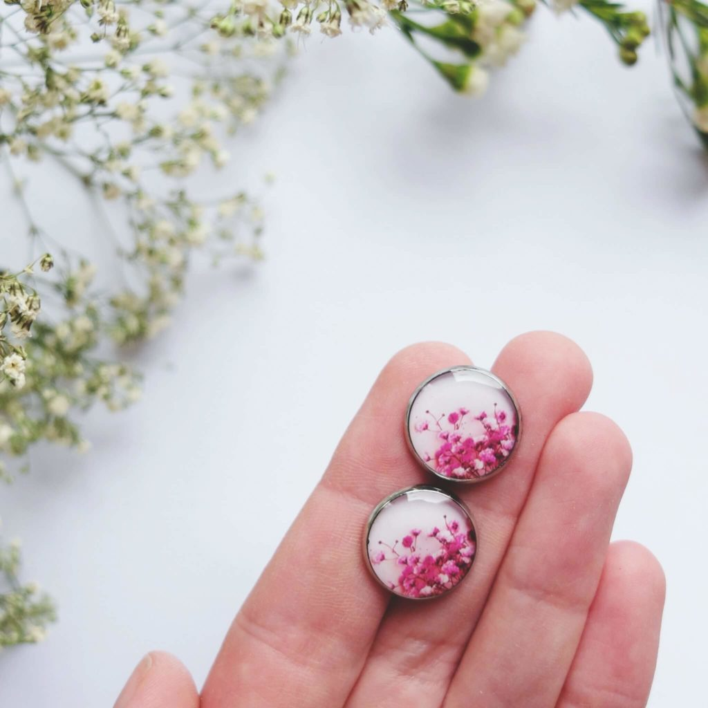 Naušnice pecky pro kamarádku - růžové větvičky