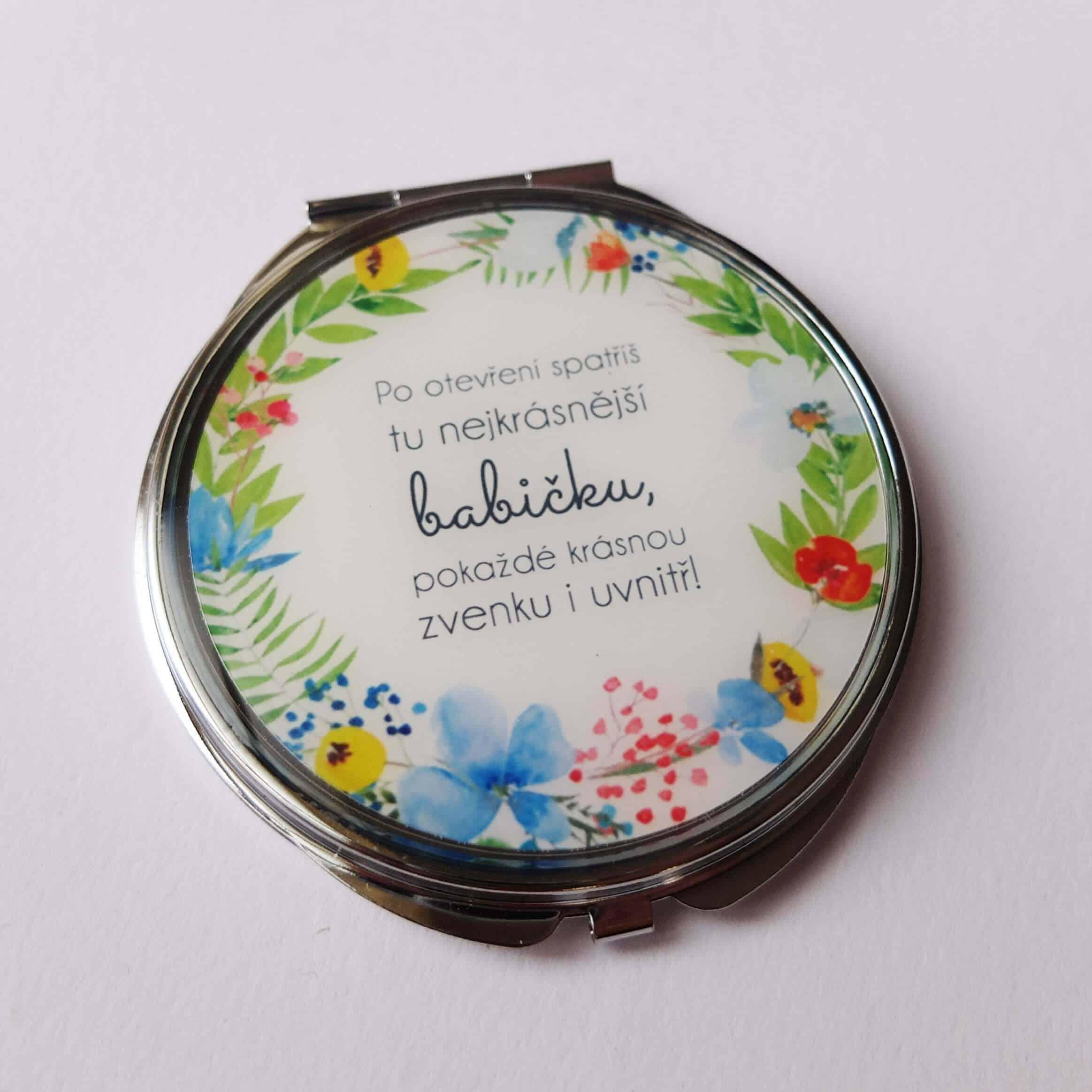 """Zrcátko pro babičku s nápisem """"... nejkrásnější babička"""""""