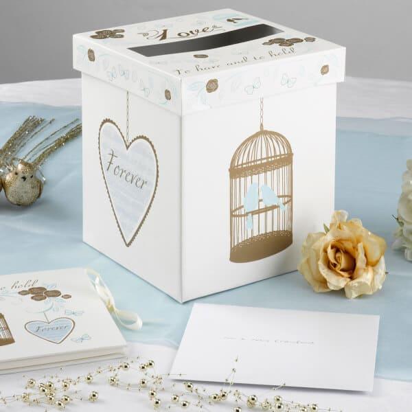 Papírová krabice se svatebními motivy na přání nebo peníze, velikost 14x14x15cm