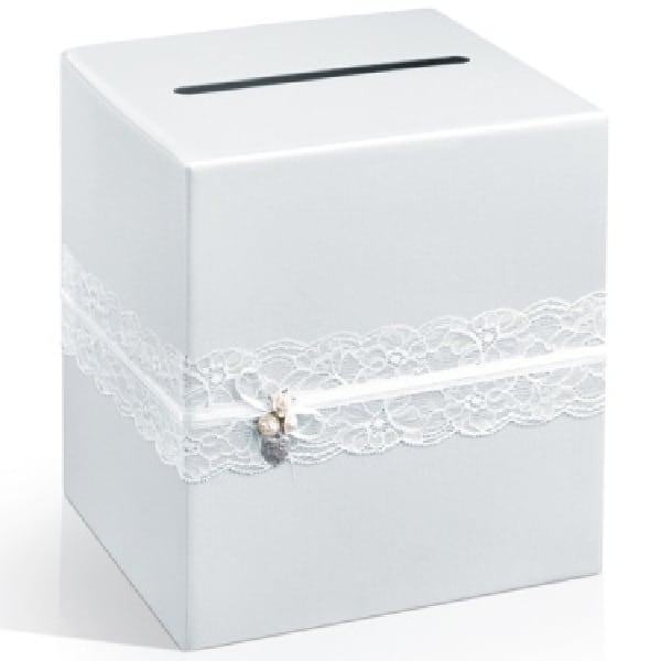 Bílá svatební krabice na přání a peníze s krajkou, rozměr 24x24x24cm
