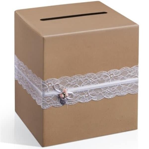 Přírodní hnědá svatební krabice na přání a peníze s krajkou, rozměr 24x24x24cm