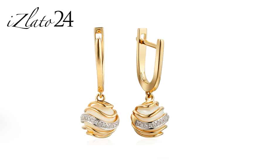 Zlaté náušnice s perlou a diamanty Chloris