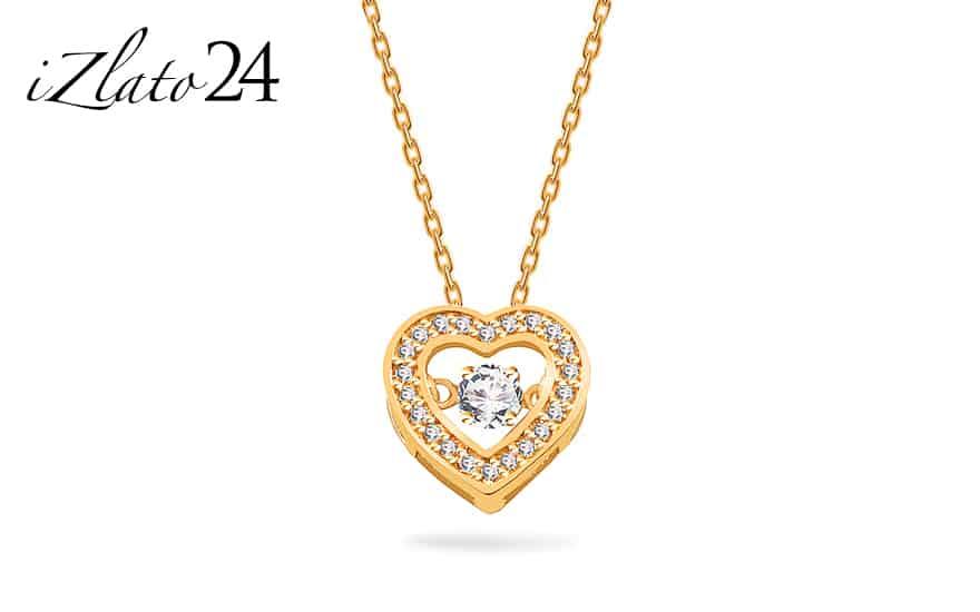 Zlatý náhrdelník se srdíčkem a tančícím zirkonem