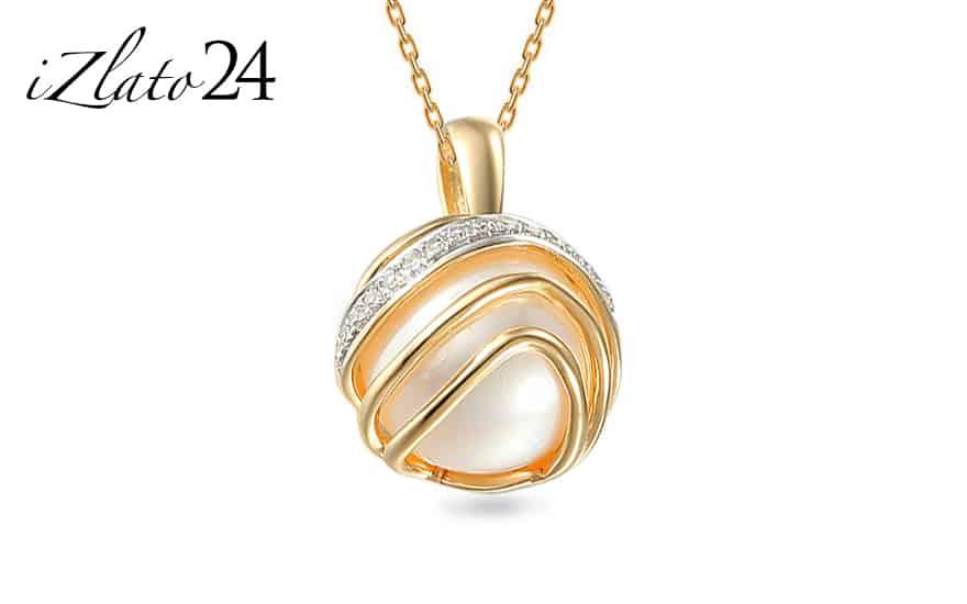 Zlatý přívěsek s perlou a diamanty Chloris