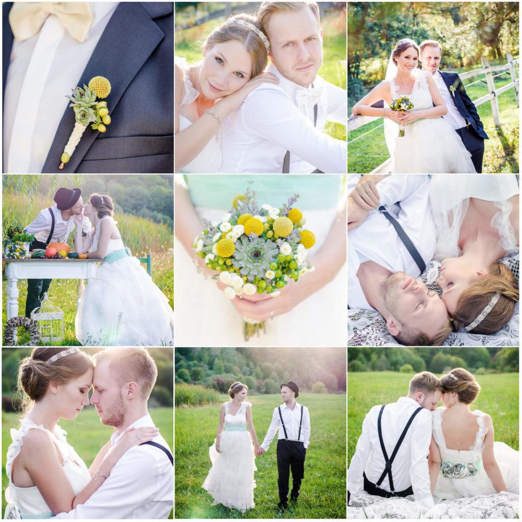 Inspirace pro jarní svatbu v barvě žluto zeleno bílé