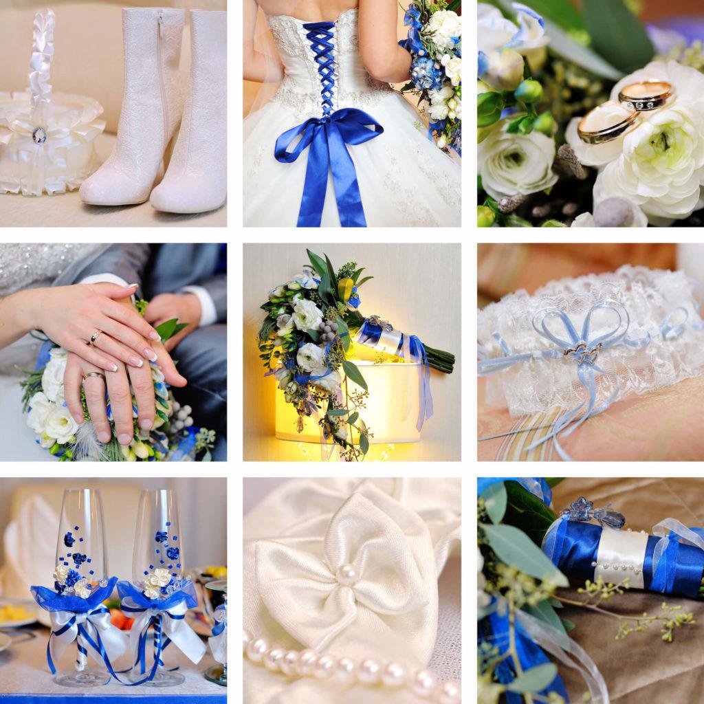 Svatební doplňky a inspirace v modrobílých barvách