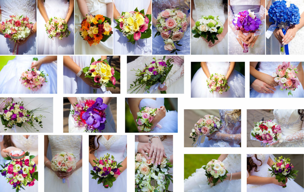 Svatební kytice - inspirace barev - velká koláž