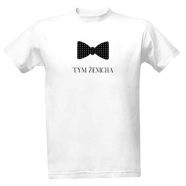 Svatební tričko bílé s motýlkem - tým ženicha