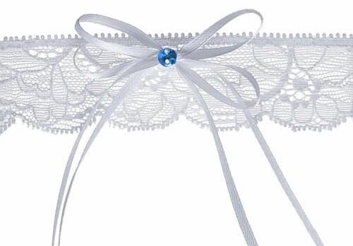 Svatební podvazek z krajky v bílé barvě s kamínkem