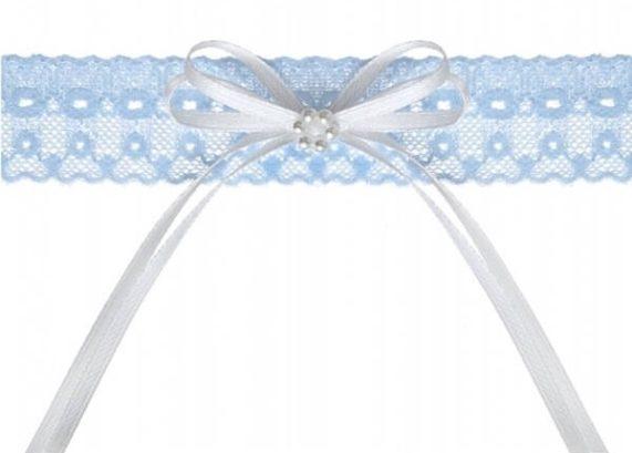 Svatební podvazek pro nevěstu v modré barvě s bílou mašličkou