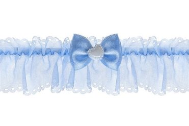 Svatební podvazek šifonový v modré barvě se srdíčkem
