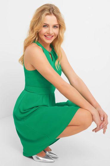 Zelené šaty z tenké látky bez rukávů se zakulaceným výstřihem a zapínáním na boku na krytý zip