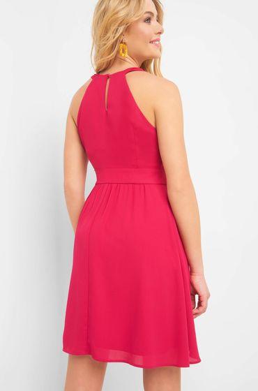 Červené šaty z tenké látky bez rukávů se zakulaceným výstřihem a zapínáním na boku na krytý zip