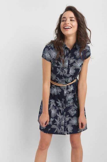 Elegantní šaty zn. Orsay s potiskem a opaskem z lehce elastické bavlněné látky