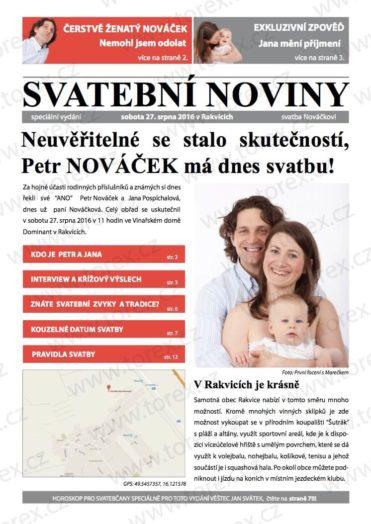Svatební noviny na míru - ukázka 1. strany