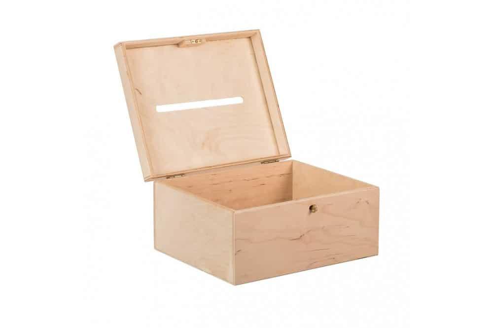 Dřevěný box na svatební přání na klíč s otvorem ve víku