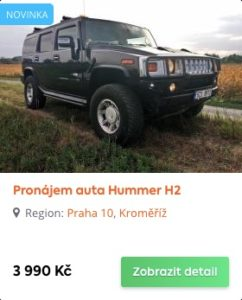 Hummer H2 je možné si pronajmout na pár hodin nebo až na celý víkend.