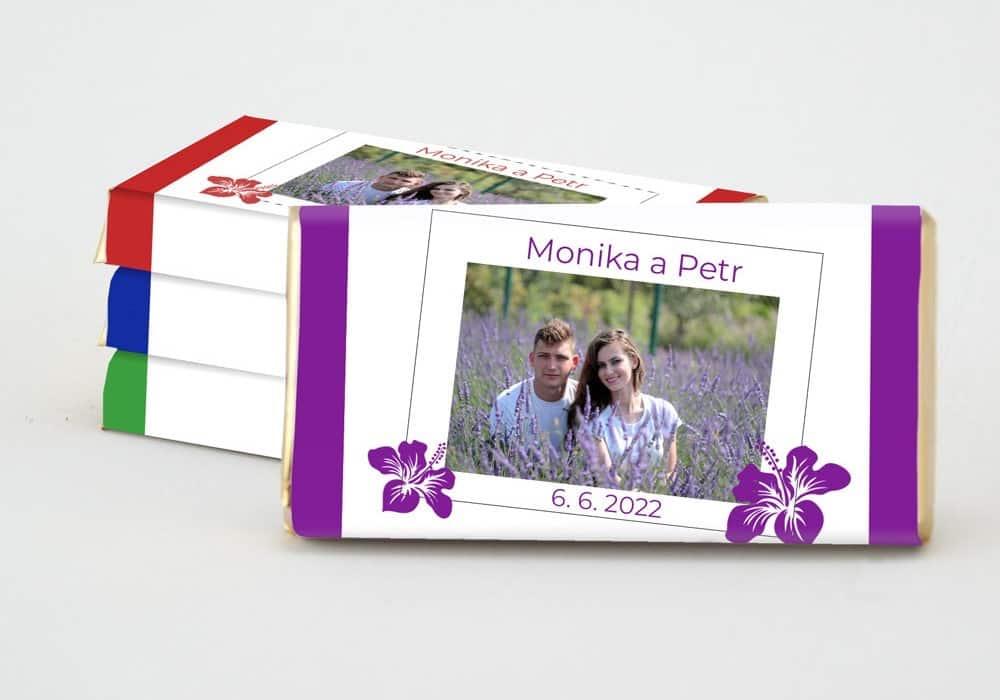 Dárek pro svatební hosty - čokoládka MONIKA (s pruhy) - výběr z 20-ti barev