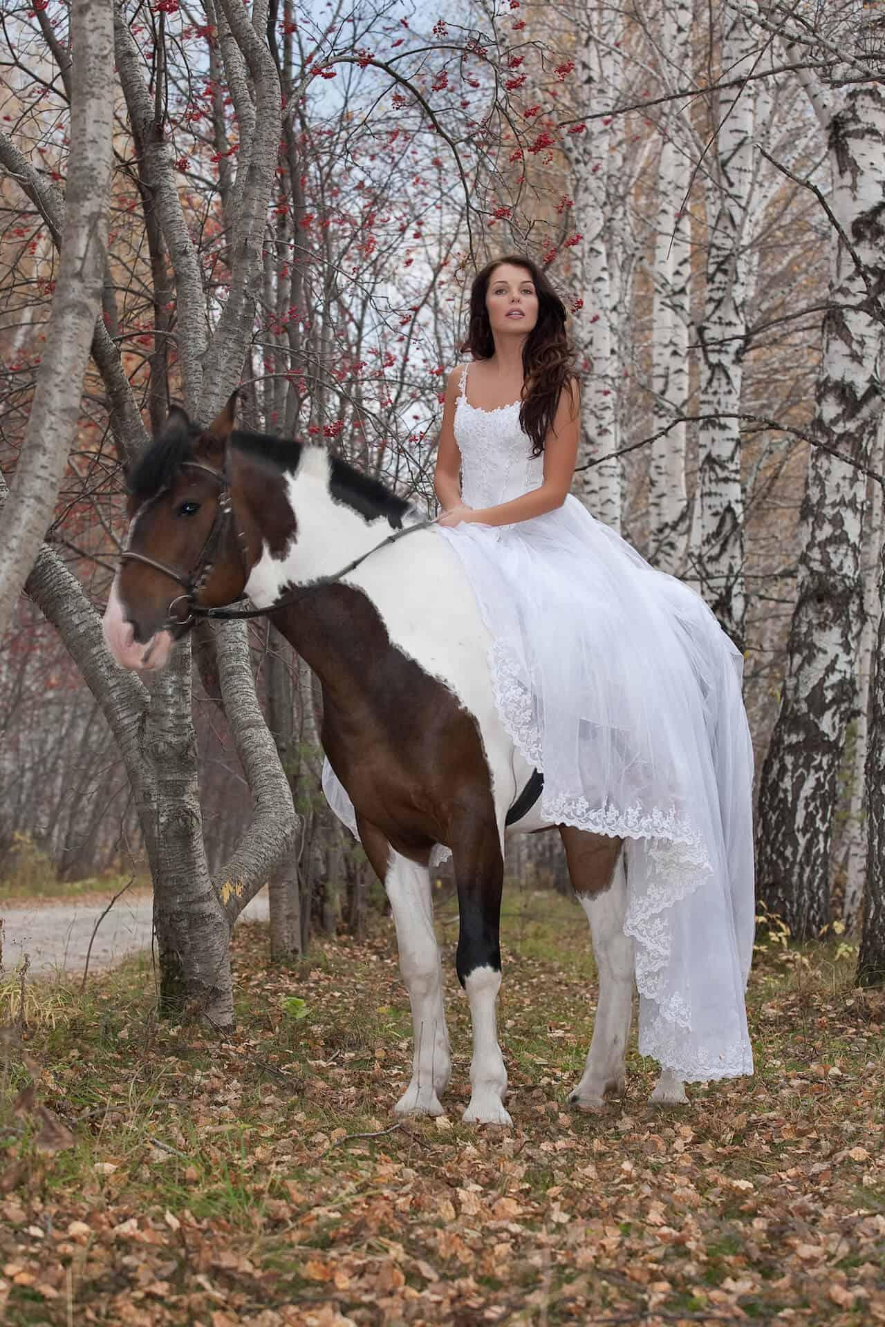 Nevěsta na koni v podzimním lese