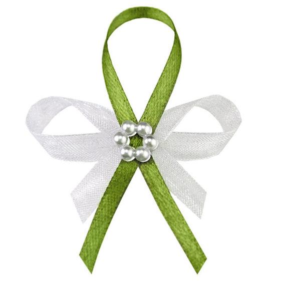 Barevný svatební vývazek ve světle zelené s perlovým kvítkem (25ks)