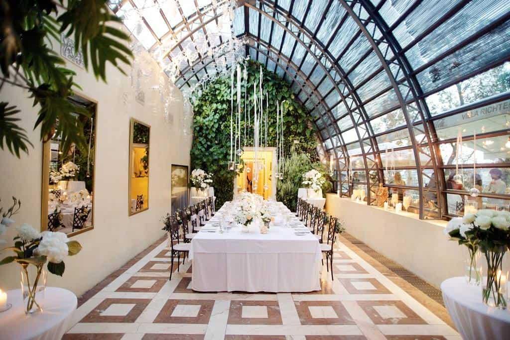 Villa Richter, svatební tabule ve skleníku