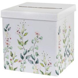 Krásná svatební krabice na peníze a dárky s jemným motivem lučních kvítků