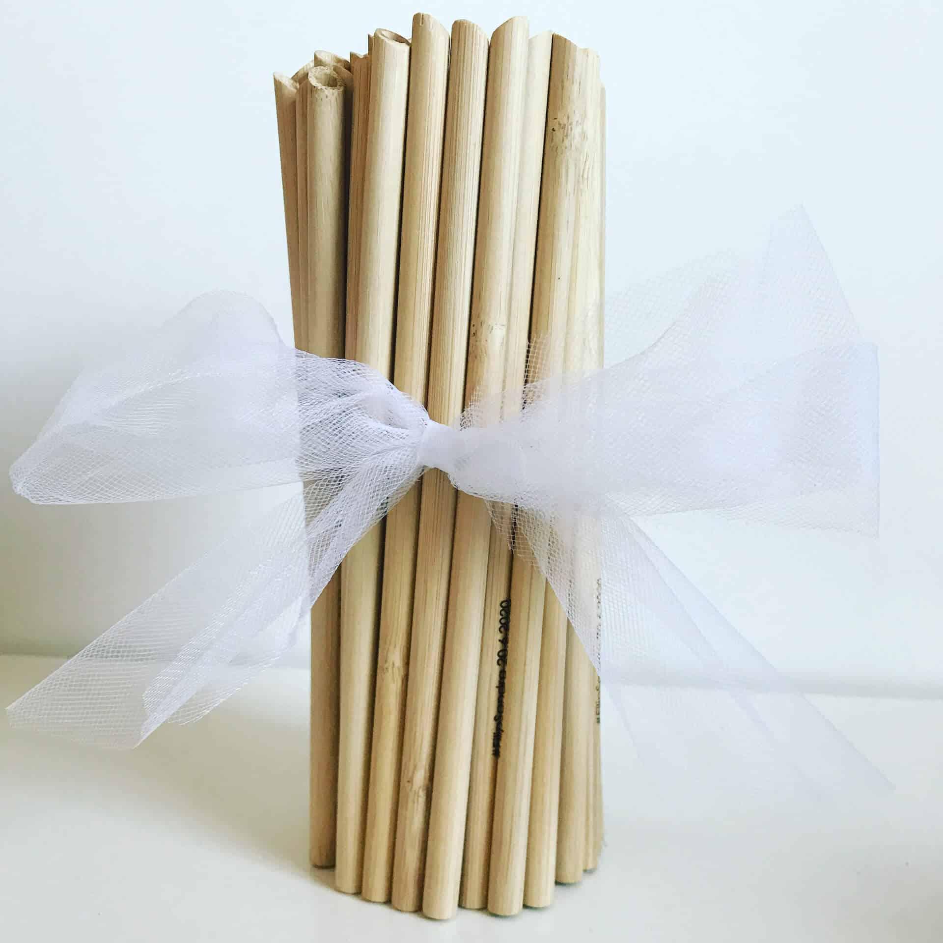 Svatební ekologická brčka z organického bambusu s gravírováním