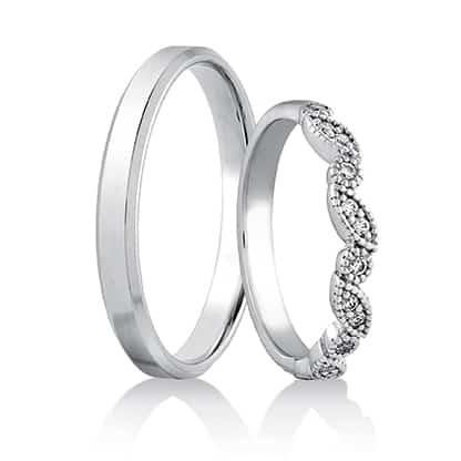 Snubní prsteny 442 bílé zlato 14 karátů