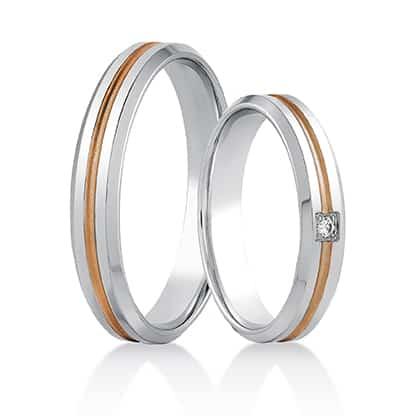 Snubní prsteny 447 kombinované bílé/růžové zlato