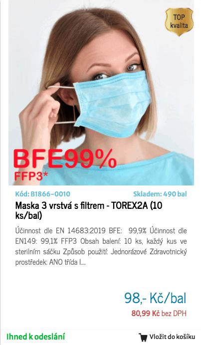 FFP3 maska 3-vrstvá s filtrem 99,1% - TOREX2A (10 ks/bal)