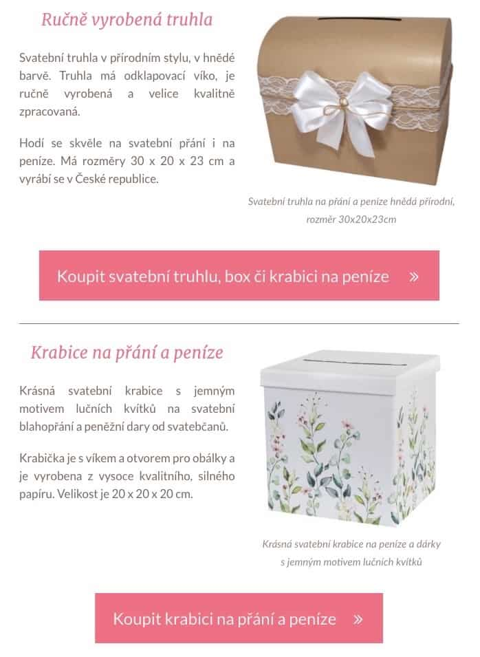 Reklamní upoutávka v obsahu (ukázka - truhlička, krabička)